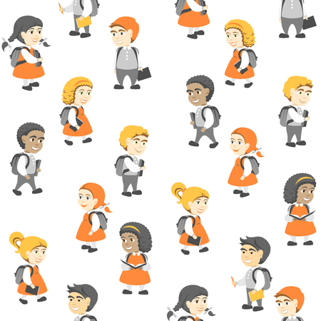 Seamless Pattern in Flat Style, Group of Happy Students.