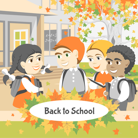 Back to school. Group of happy students walking in the school yard. Autumn day. Illustration