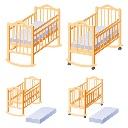 Cot for baby with mattress. Options position. Illustration