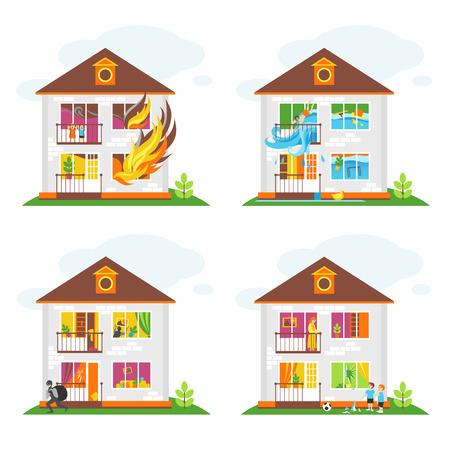 Set illustraties over het thema onroerendgoedverzekering tegen ongevallen Stock Illustratie