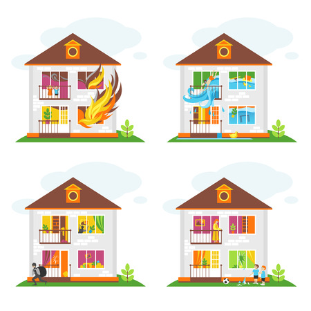 Set of illustrations on the theme of property insurance against accidents