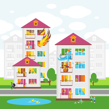 The Citys Skyline. Illustrations on the Theme of Property Insurance Against Accidents