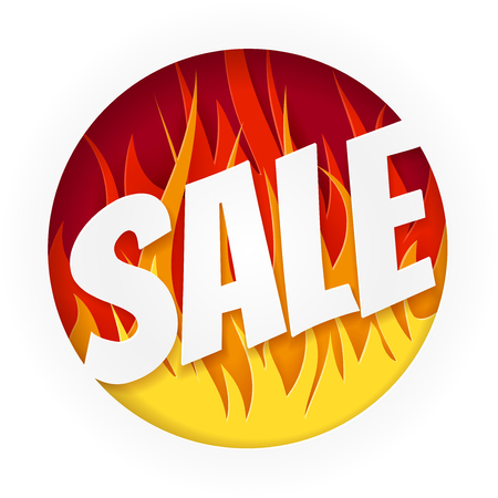 Hot Sale Banner on White Background. Designs with Flame. Illustration
