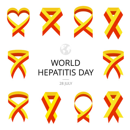 hepatitis prevention: Illustration of World Hepatitis Day on white background. Ribbons.