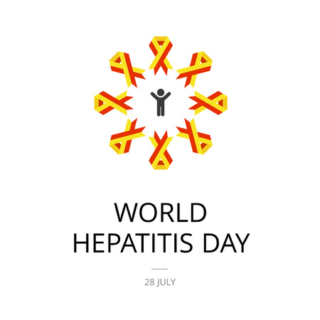 Illustration of World Hepatitis Day on white background.