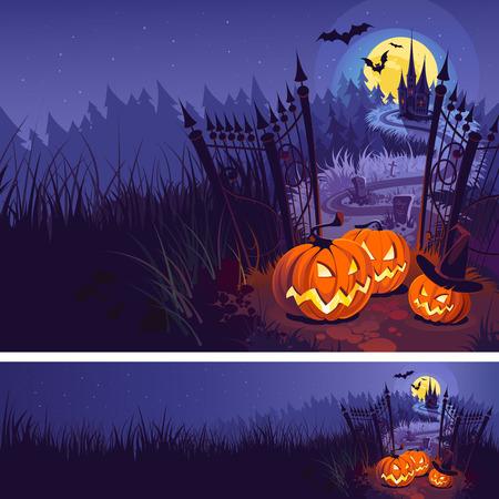 Calabazas de Halloween y castillo oscuro en azul Fondo de la luna, ilustración.