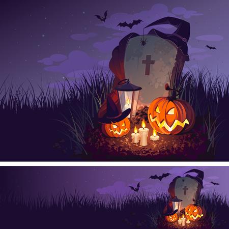 Halloween pompoen en een grafsteen op de achtergrond van de nachthemel, illustratie.