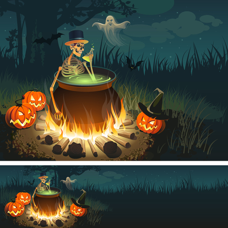 boiler: Halloween illustration with a bonfire, a skeleton, a Ghost, Pumpkins and a bats.