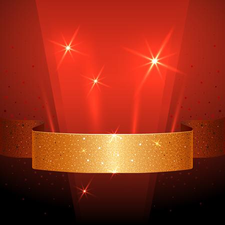 어두운 빨간색 배경에 황금 리본으로 배너.