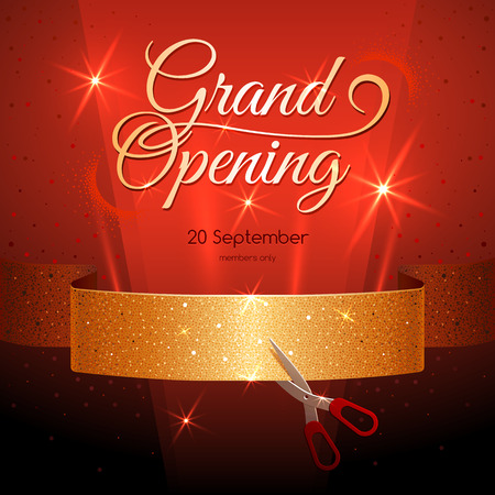 beginnings: Banner with Golden Ribbon on Dark Red Background. Grand Opening.