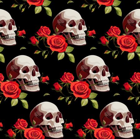 頭蓋骨と黒の背景の赤いバラとシームレスなハロウィーンのパターン。  イラスト・ベクター素材