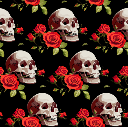 Seamless Halloween Pattern with Skulls and Red Roses on a Black Background.