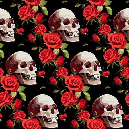 Halloween Pattern with Skulls and Red Roses on a Black Background.