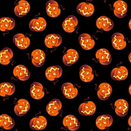 Seamless Halloween patrón con calabazas sobre fondo negro. Foto de archivo - 81810323