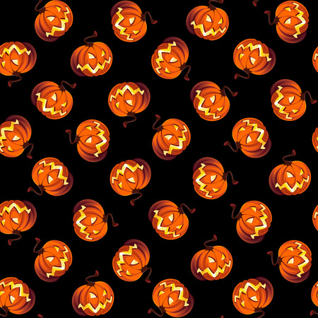 precipice: Seamless Halloween Pattern with Pumpkins on black background. Illustration