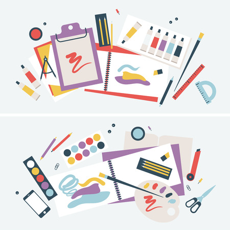 Illustration of a Student Desk with Brushes and Paints, Albums and other Items. Illustration