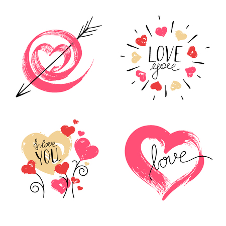 Hand Drawn Hearts on White Background. Illustration
