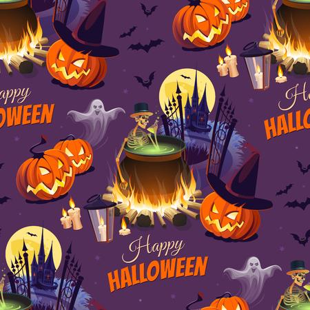 Feliz ilustración de Halloween con personajes en el fondo oscuro. Sin patrón Foto de archivo - 85823177