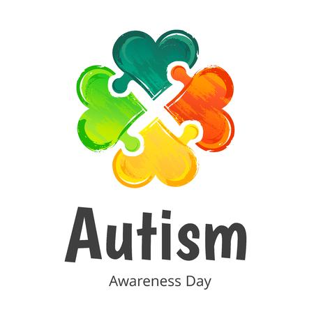 Dzień Świadomości Autyzmu. Ilustracja na bia? Ym tle Ilustracje wektorowe