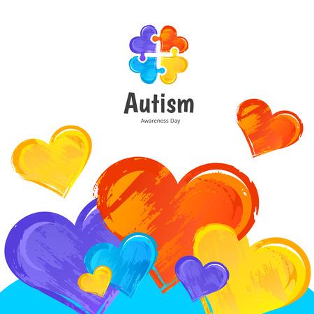 Giorno di sensibilizzazione sull'autismo. Illustrazione su priorità bassa bianca.