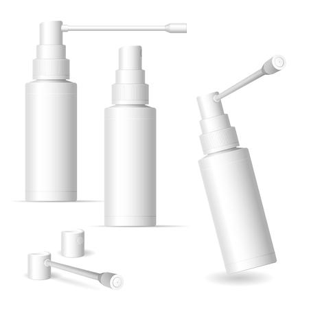 Matte Kunststoffflasche mit langem und kurzem Düsensprüher für Mundspray. .