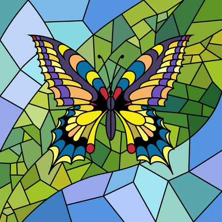 Illustration in stained glass style with bright butterfly, leaf and sky. Illustration