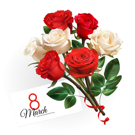 8 March Womens Day greeting card template. Realistic red and white roses isolated on white background. Illustration