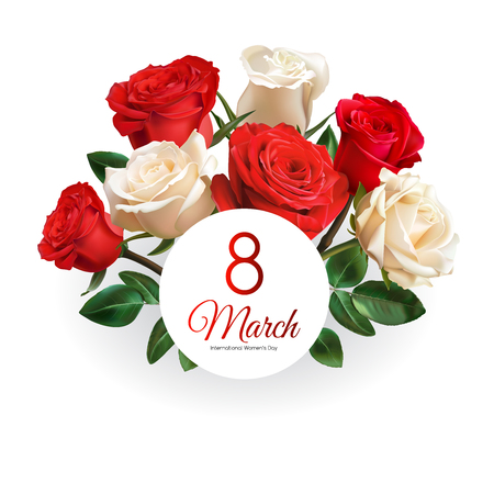 8 March Women's Day greeting card template. Realistic red and white roses isolated on white background.