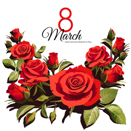 8 March Women's Day greeting card template. Red roses isolated on white background.