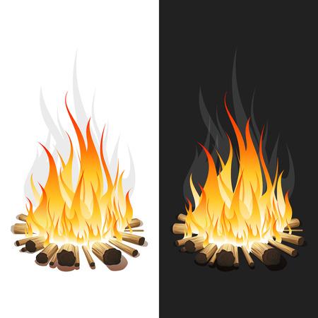 Illustration of Burning Bonfire with Wood on White and Black Background