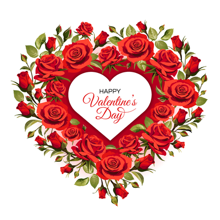 Valentine's Day greeting card template. Red roses isolated on white background.