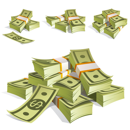 Set van geld. Verpakken in bundels bankbiljetten. Geïsoleerd op witte achtergrond