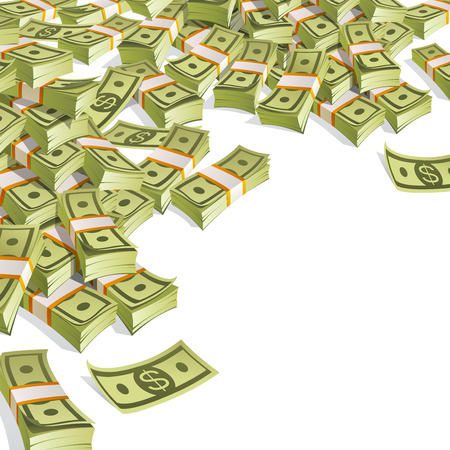 Banner with money, packing in bundles of bank notes on white background. Иллюстрация