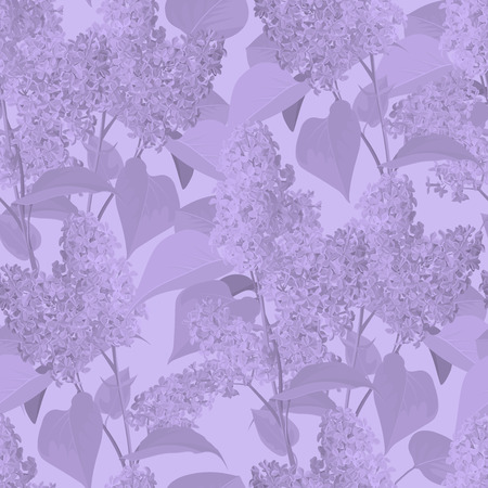 Seamless Pattern with Spring Flowers - Lilac. Realistic Style.