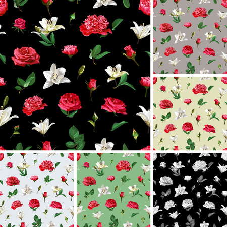 Seamless floral patterns. Roses, Peonies and Lilium. Illustration