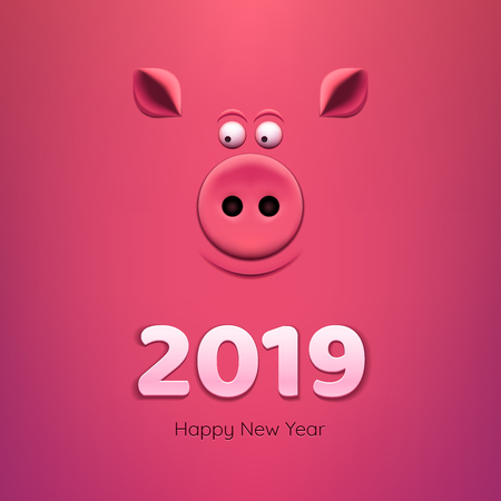 Banner with a pig's snout on a pink background. 2019 New Year. Illustration