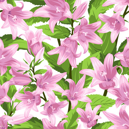 Seamless Pattern with Campanula - flowers, isolated on white background. Hand-drawn illustrations.