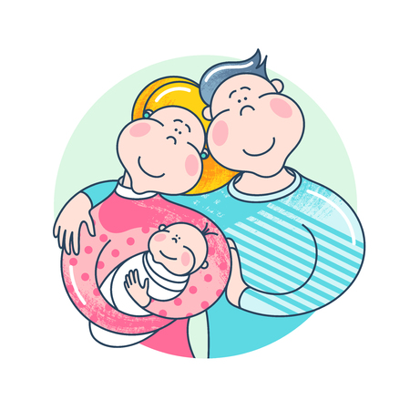 Happy family. Father, mother and baby together. Illustration