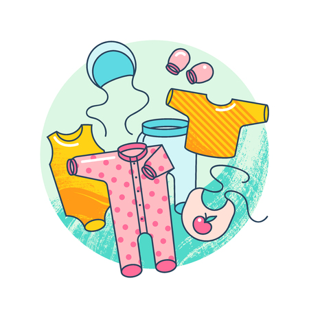 Garments for infant kids. Illustration of baby clothes in a flat style isolated on white background.