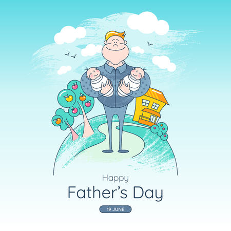 Fathers Day. Banner with Illustration - Father holding children in his arms. Attractive cartoon characters.