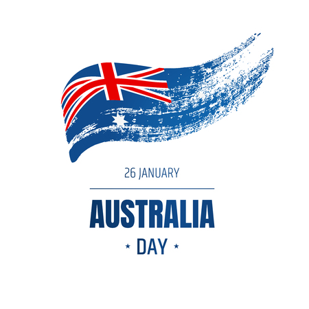 Banner for Australia National Day with Flag and text. Hand-drawn illustration.