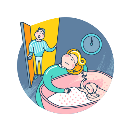 Mother puts the baby to bed. Surprised father. Illustration with family at night. Ilustração