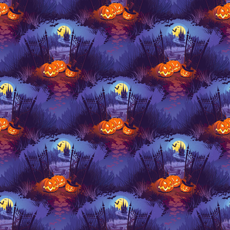 Happy Halloween Illustration with Pumpkins and Castle on the Dark Background. Seamless Pattern.
