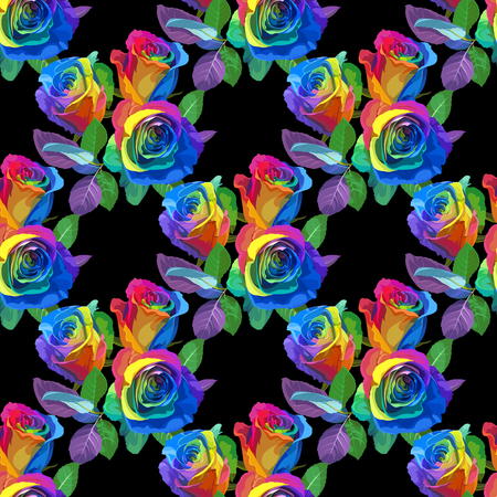 Seamless Pattern - Multicolored Roses on Black Background.
