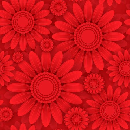 Square 8 March seamless pattern. Template with flat red flowers isolated on dark red background. Paper art style. Illusztráció