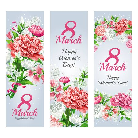 Set of vertical banners for holiday - 8 March Women's Day. Greeting card templates. Pink and white flowers: Peonies, Roses, Lilacs and Campanulas isolated on light background.