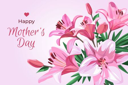 Vertical illustration for holiday - Mother's Day. Bunner with text and pink flowers - Lilium isolated on light pink background.