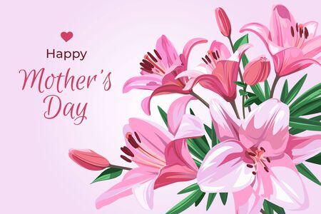 Vertikale Illustration für Urlaub - Muttertag. Bunner mit Text und rosa Blumen - Lilium isoliert auf hellrosa Hintergrund.