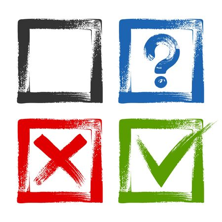 Design of check list marks, choice options, test, quiz or survey signs. Square boxes with blue question, red x and green tick check marks. Approval signs.