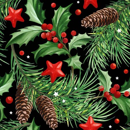 Seamless pattern with Christmas symbol - Holly leaves, Christmas tree with cones and stars on black background.